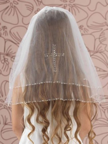 First Holy Communion Veil with Crystal Sequin Edge and Cross
